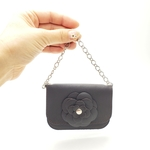 leather camellia mini bag