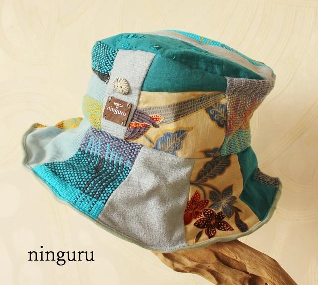 楽園の手織ブルー・クロッシェ(水色×黄色)