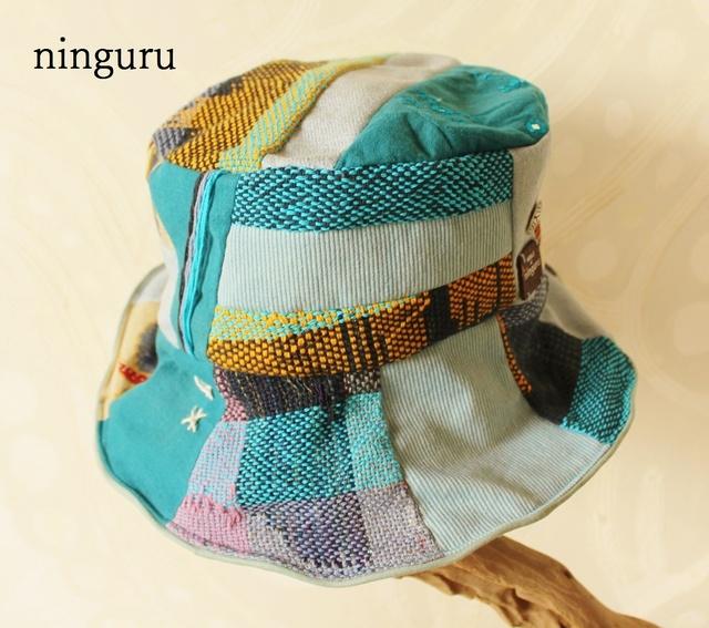 楽園の手織ブルー・クロッシェ(水色×藍色)