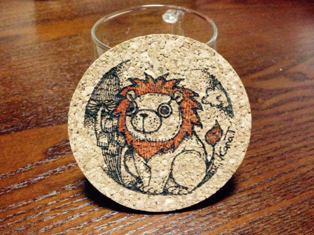 【手描きコースター】ライオンだよ。【ウッドバーニング】