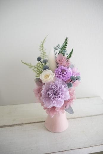 ライラックカーネーション供え花