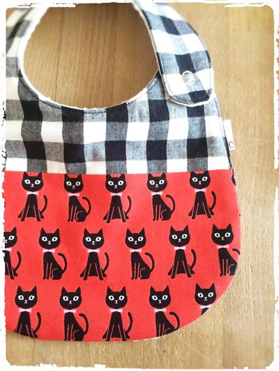 かわいいスタイ *黒猫×チェック*