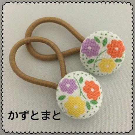 21-7 くるみボタンのヘアゴム 2個セット【送料込】
