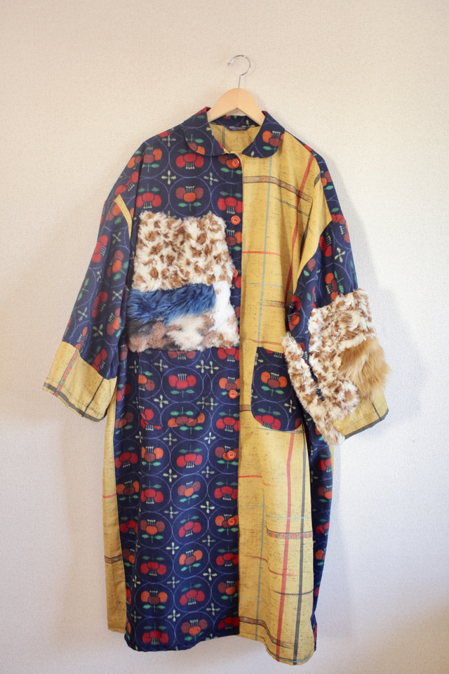 Retro yellow&花柄絣キモノとファーのOversize Long jacket (no.357)