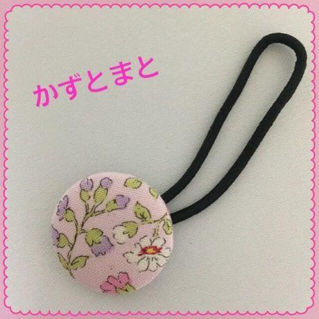 23-4 くるみボタンのヘアゴム(花)【送料込】