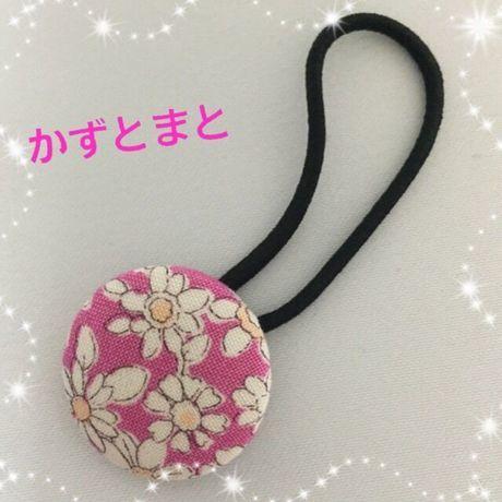 23-7【送料込】 くるみボタンのヘアゴム(花)【送料込】