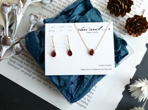 christmas coffret      14kgf ガーネット necklace set