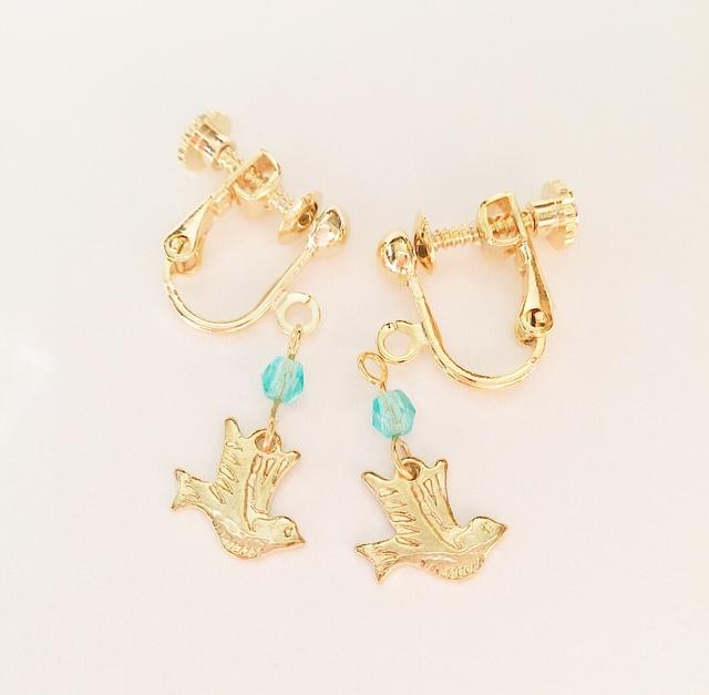 再販☆幸せの青い鳥☆イヤリング/樹脂ピアス
