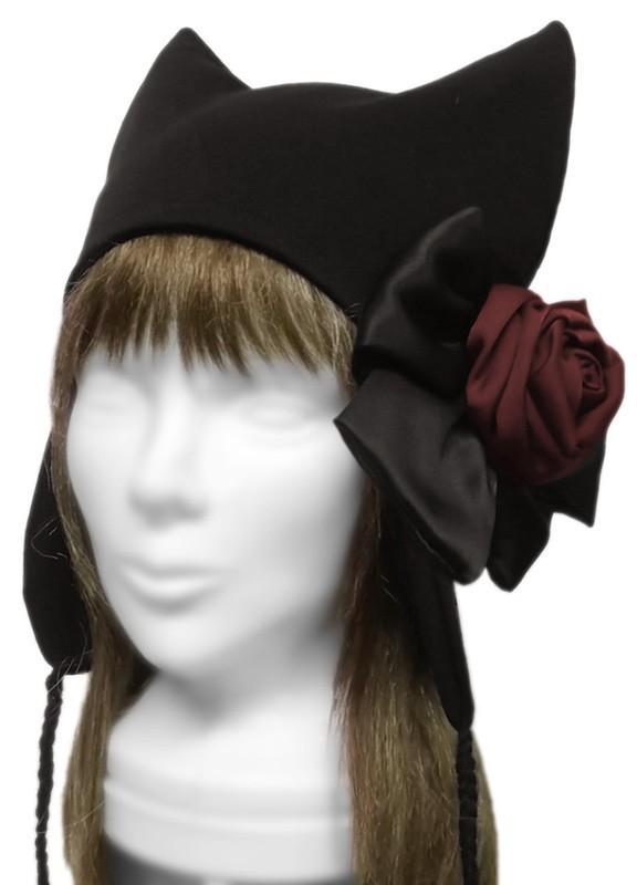 紅薔薇&サテンリボン飾り/耳あて付ネコ耳帽子◆コットンニット/黒