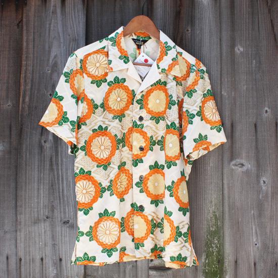 【JIKUU】京友禅/着物リメイクアロハシャツ『菊華文』Lサイズ