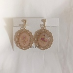 【pink beige】Nudy  flower earrings