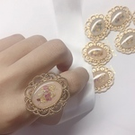 【pink beige】Nudy  flower ring