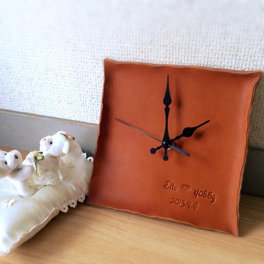 贈り物に〜名前と日付けを〜革 memorial 掛け時計 名入れ