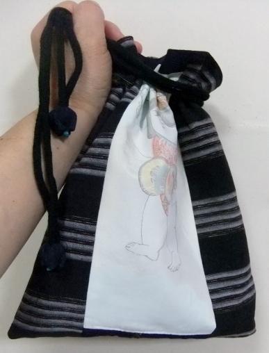 着物リメイク 唐桟縞の着物で作った巾着袋 421