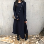 【ASYMMETRIC LONG DRESS】color:dark navy