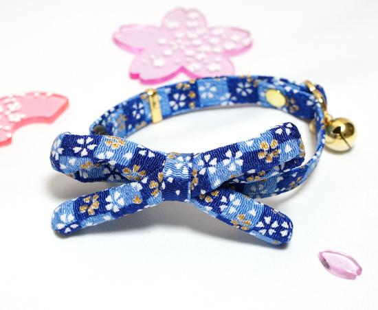【猫用】江戸猫首輪リボン付き(金襴青に桜)