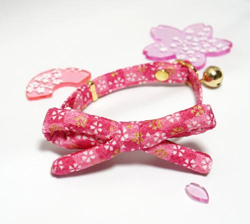 【猫用】江戸猫首輪リボン付き(金襴ピンクに桜)