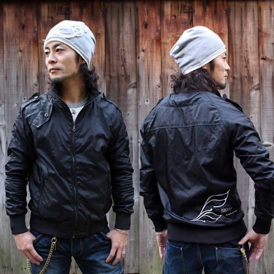 <セール特価!30%OFF>【JIKUU】ラグラン/ナイロンミリタリー&ライダースジャケット/ブラック
