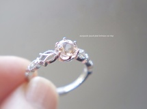 特集掲載 冬の贈り物/morganite peach pink bririant cut crown lace ring