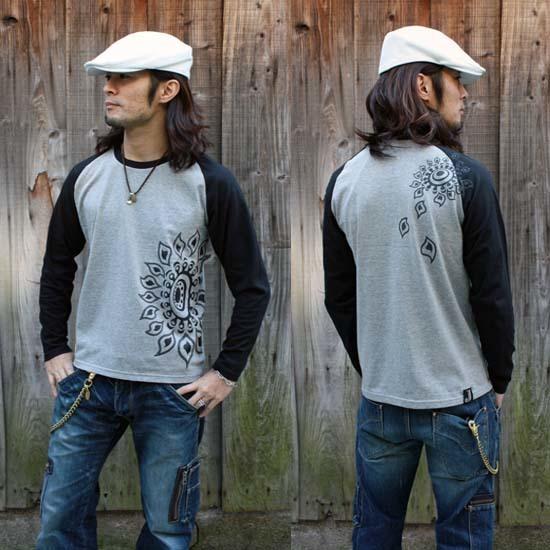 【JIKUU】 メンズ/ラグラン長袖Tシャツ『ヒマワリ』