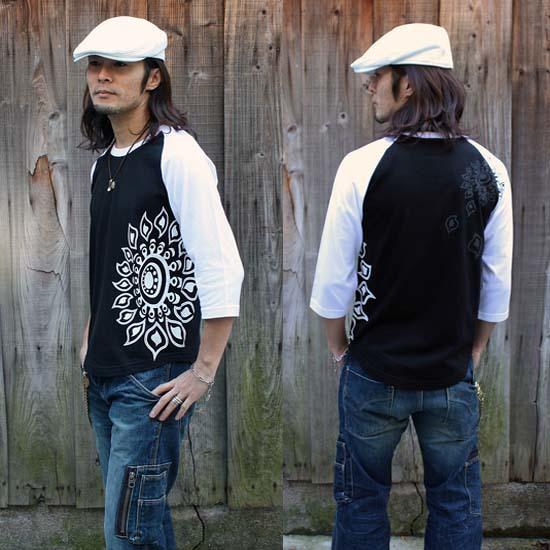 【JIKUU BY SLC】コットン/メンズラグラン7分袖Tシャツ『ヒマワリ』