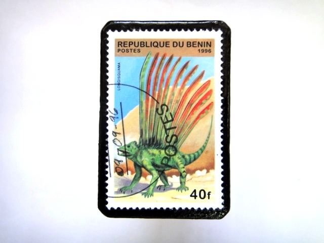 ベニン 恐竜切手ブローチ 013