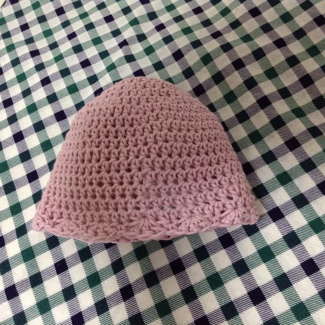 ピンクのベビー帽子【頭囲40cm・2〜...