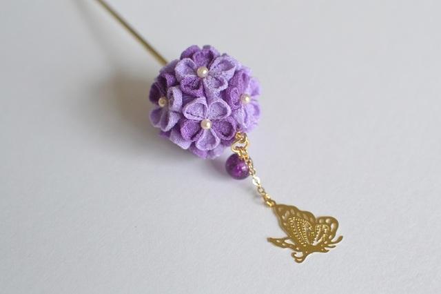 tumami*紫陽花と蝶 簪(受注生産)