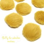 8個入り)yellow)fluffy fur cabochon set