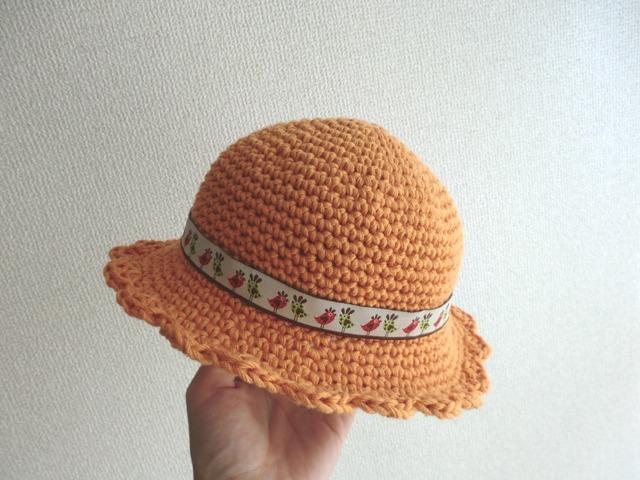 ふんわりコットンのベビー帽子 オレンジ