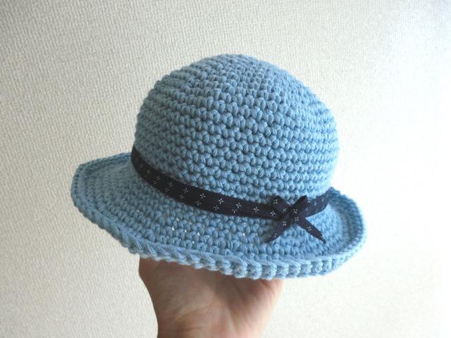 ふんわりコットンのベビー帽子 ブルー