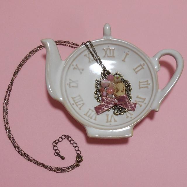 バラとカメオのネックレス…ピンク