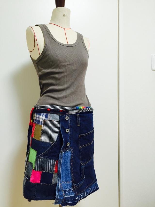 オーバーオールのリメイクラップスカート
