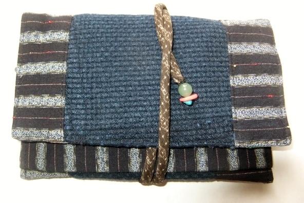 剣道着と唐桟縞の着物で作った和風財布 439