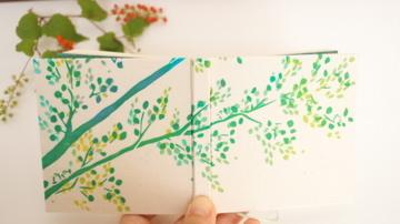100のこと「梢の小鳥」 型染め手帳