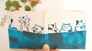 100のこと「猫会議PM3:00」 型染め手帳
