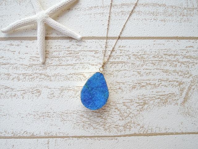 Druzy Quartz Necklace Blue