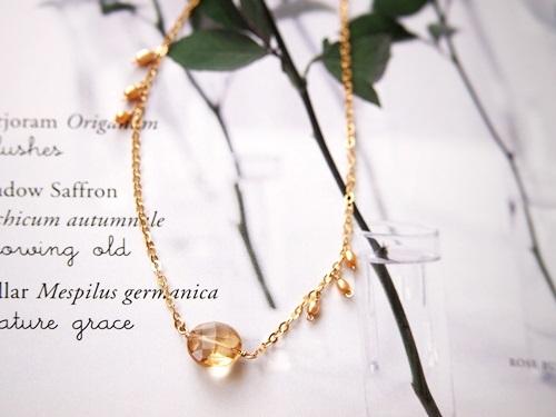 (14kgf)宝石質シャンパンクォーツとパールのネックレス(43cm)[nc1069]