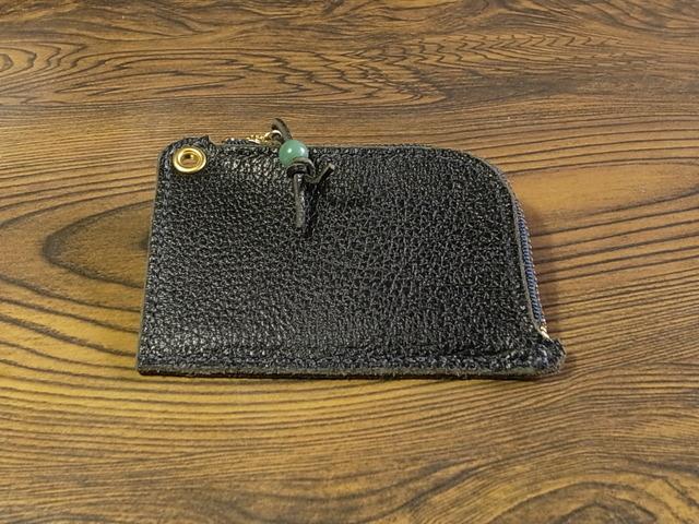 ポケットが厚くならない革小銭入れ:黒シボ革