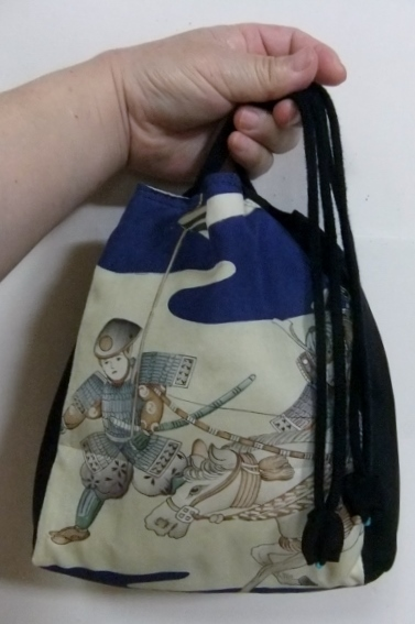 男の子の着物と黒の羽織で作った信玄袋 442