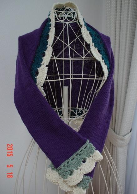 ☆彡紫紺色のクロッシェ・レース飾りのマーガレット☆彡