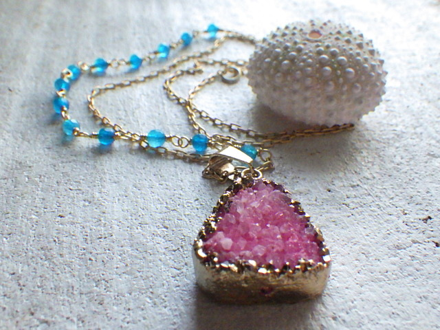 SALE!  Druzy Ocean Necklace--red