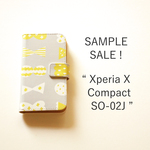 【SALE !】Xperia X Compact SO-02J*帯あり*手帳型*スマホケース「candy butterfly ( ライトグレイ×ビターレモン )」