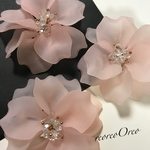 BIG!Frosted Glass Flower bijou  pink
