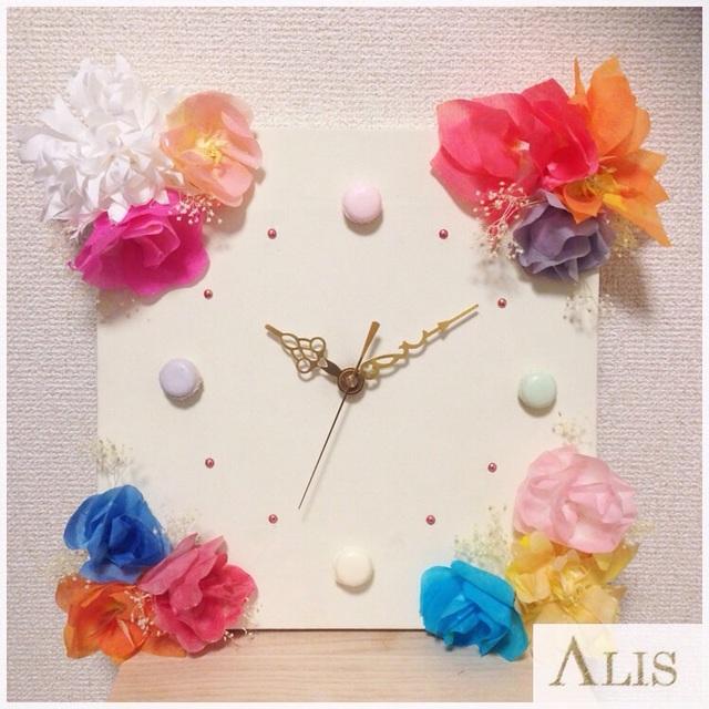フラワーアートの壁掛時計
