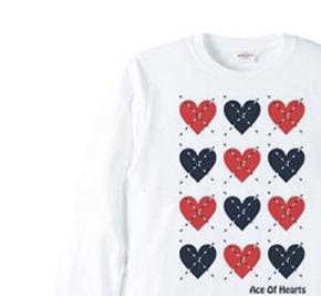 ハートのアーガイル 長袖Tシャツ【受注生産品】