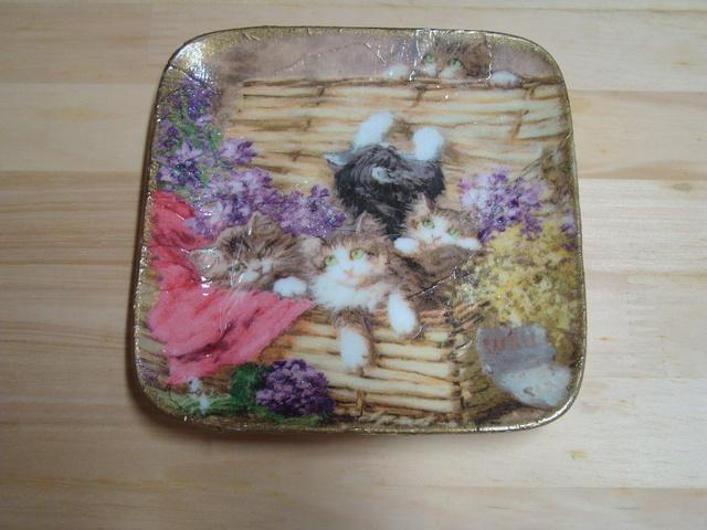 デコパージュ(猫 飾るお皿