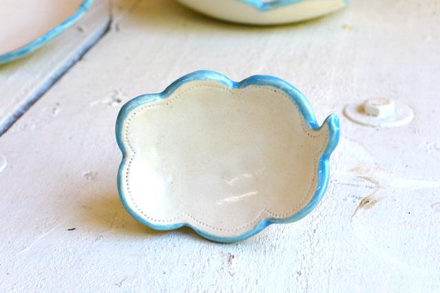 雲の吹き出し皿 EDGE-LINE(青色)