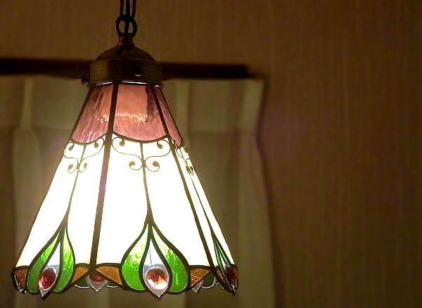 「Vanilla ヴァニラ」 ステンドグラス ランプ 照明 ペンダント 再販