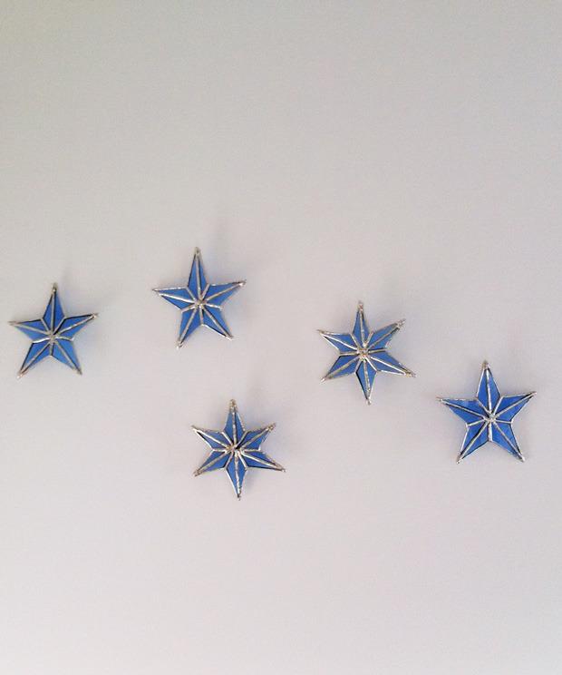 冬の飾り 雪と星(あお)